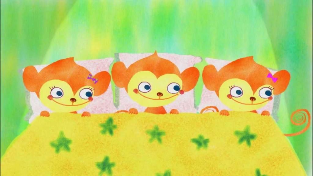 【こどもちゃれんじ English】【えいごのうた】Three Little Monkeys
